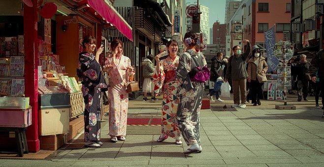 Street, Japanese, Kimonos, Friends, Girls, Laughing