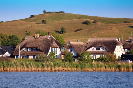 Gager, Rügen Island, Thatched Roofs, Nature, Water
