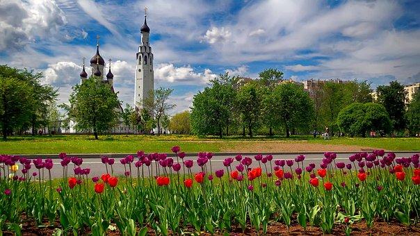 Temple, Flowers, Summer, Sky, Landscape, Tulips