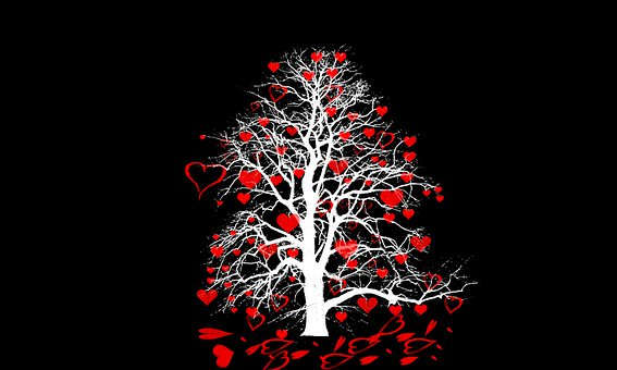 Graphics, Tree, Heart, Hanging, Black Background, White