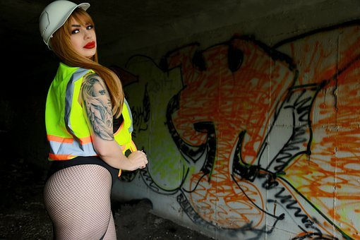 Woman, Tattoo, Construction Worker, Lady In Hard Hat