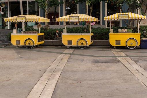 Stands, Yellow, Work, Pattaya, Thailand, Asia, Sale
