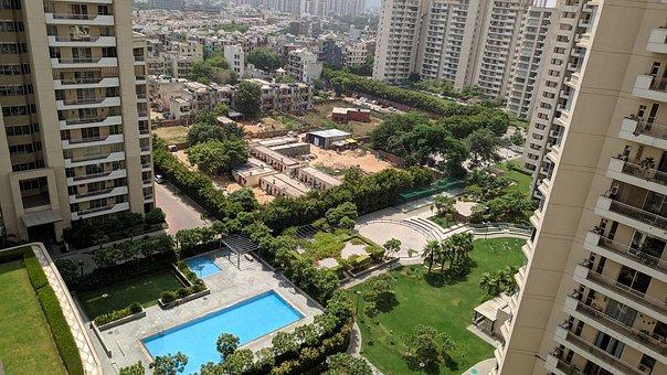 Apartments, Pool, Architecture, Delhi, City, India