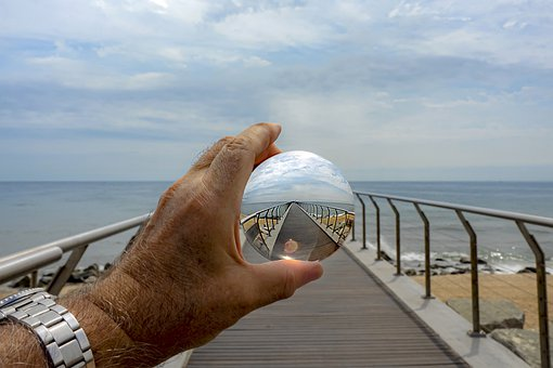 Lens Ball, Sea, Bridge, Architecture, Sky, Beach