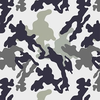 Camo Army, Black, White