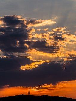 The Sky, Sun, Sunset, Clouds, Orange, Bratislava