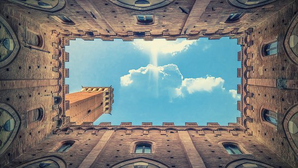 Architecture, Clouds, Wall, Historically, Siena, Sienna