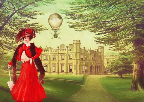 Park, Lady, Castle, Hot Air Balloon, Trees, Feather Boa