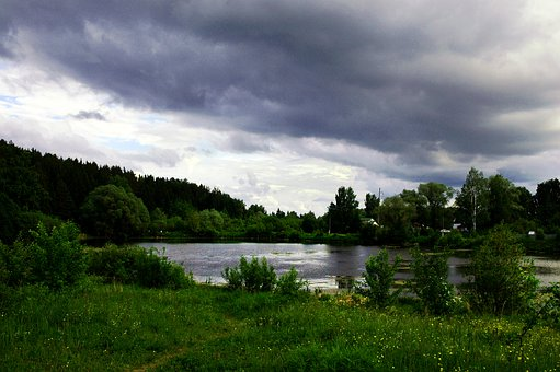 Nature, Landscape, Bad Weather, Sky, Lake, Green