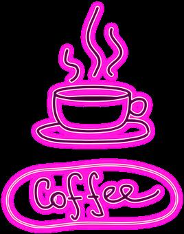 Neon, Café, Signboard, Bistro, Coffee, Cup, Log