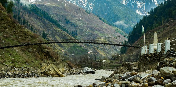 Mountain, Bridge, Naran, Suspension Bridge, Pakistan