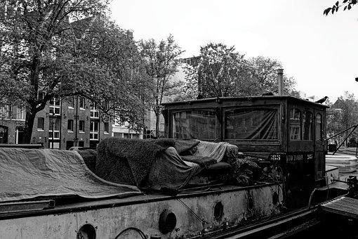 Boat, Peniche, Channel, Sofa, Amsterdam