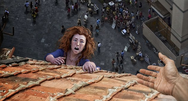 Roof, Woman, Rescue, Help, Image Editing, Photoshop