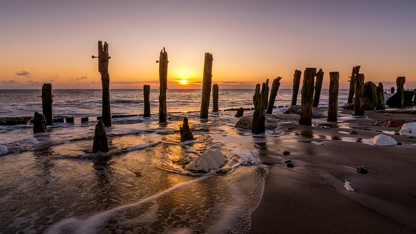 Sea, Beach, Spurn Point, Hull, Yorkshire, England