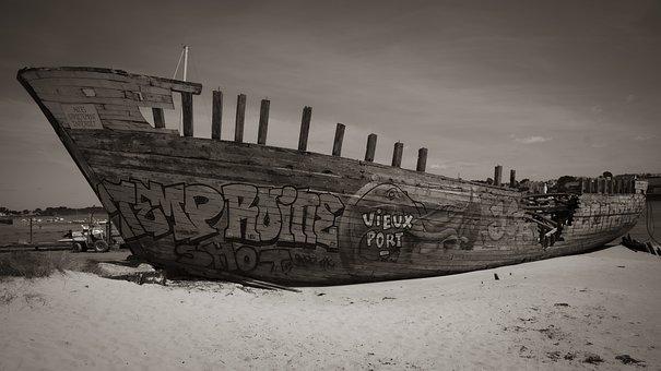 Boat, Wreck, Old, Sea, Landscape