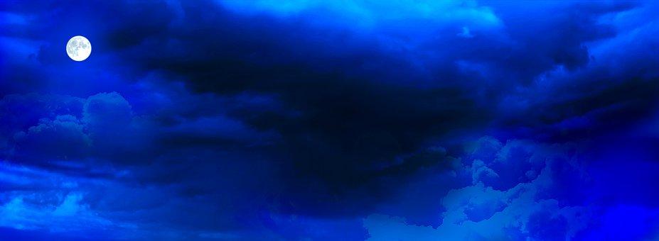 Sky, Moon, Blue, Night, Dark, Landscape, Background