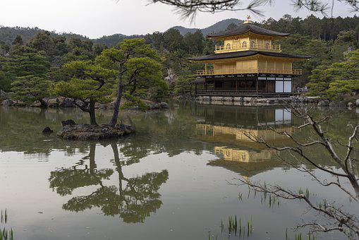Kyoto, Palace, Pond, Kinkaku-ji, Castle, Japan, Sky