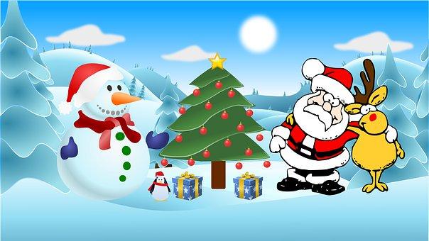 Christmas, Christmas Tree, Santa Claus, Snowman, Snow