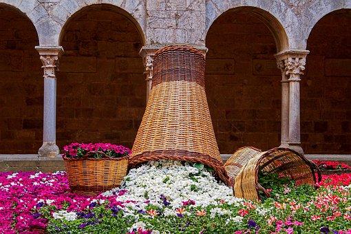 Flowers, Baskets, Basket, Spring, Color, Cloister