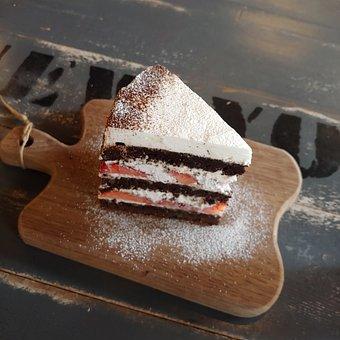 Cake, Powdered Sugar, Desert, Strawberries