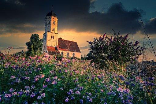 Wild Flowers, Church, Nature, Bush, Sunset, Flora