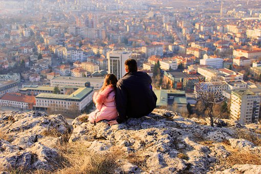 Father And Daughter, Town, Rocks, High, City, View