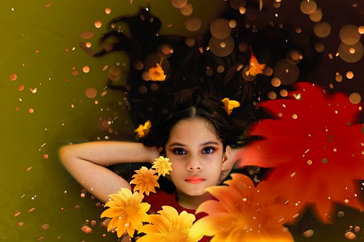 Girl, Flowers, Yellow, Dream, Fantasy, Spring, Nature