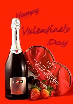 Valentine's Day, Champagne, Strawberries, Chocolates
