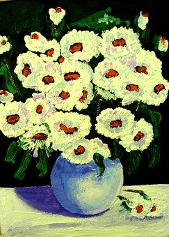 Painted Flowers, Acrylic Paint, Canvas, Paintbrush
