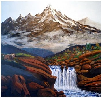 Paint, Color, Mountains, Art, Painting, Waterfall