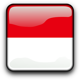 Indonesia, Flag, Country, Nationality, Square, Button