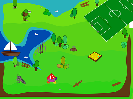Beach, Park, Soccer Field, Recreation, Vacation, Map