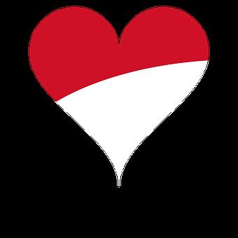 Heart, Love, Flag, National Flag, Indonesia