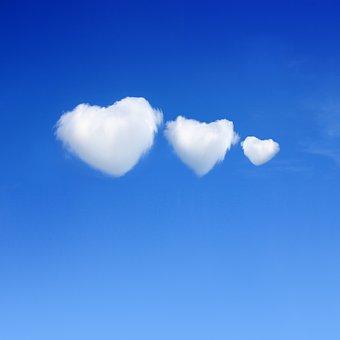 Cloud, Sky, Hearts, Blue, Love