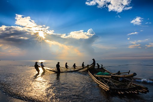 Sea, Boat, Raft, Fishermen, Fishing Net, People, Sky