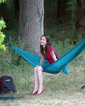 Woman, Girl, Female, Young, Hammock, Trees, Log