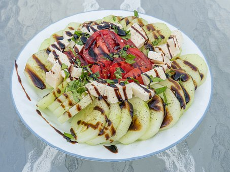 Salad, Cucumber, Tomato, Balsamic, Vinegar, Food