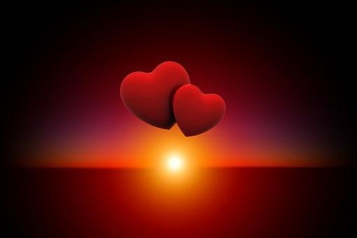 Sunset, Heart, Love, Evening Sky, Abendstimmung, Sun