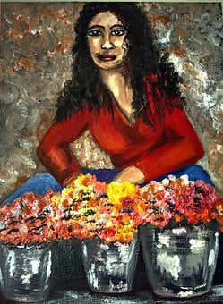 Painter Flower Lady, Acrylic, Bold, Canvas