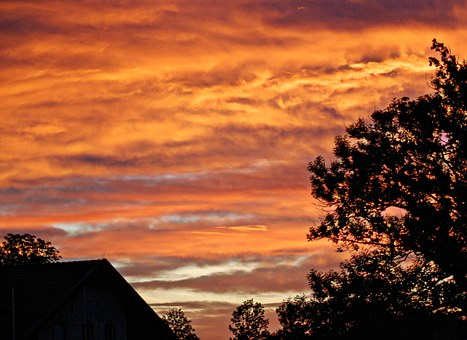 Afterglow, Herrenchiemsee, Trees, Barn, Red, Sky