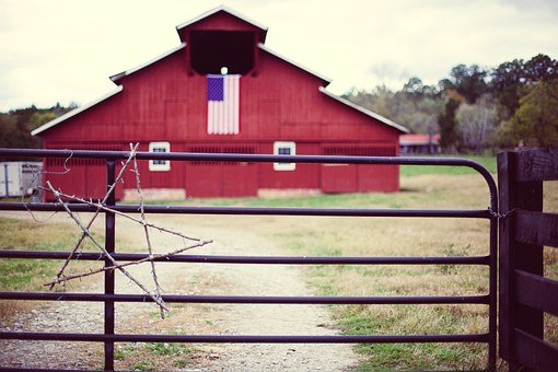 Barn, American, Farm, Red, Countryside, Country, Old