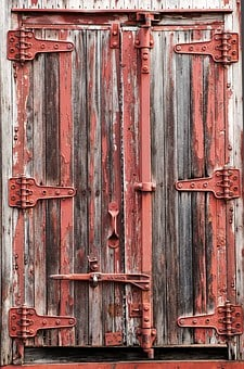Train, Cargo Car, Antique, Cars, Wooden, Red, Door