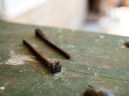 Nails, Handmade, Vintage, Old, Antique, Iron, Rusty