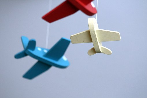 Plane, Toy, Blue, White, Red, Background