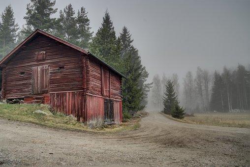 Sweden, Red, Barn, Landscape, Country, Nature, Rural