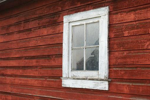 Window, Old, Barn, Red, Vintage, Wall, Building
