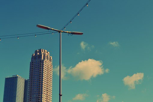 Blue, Sky, Clouds, Lamp Post, String Lights, Buildings