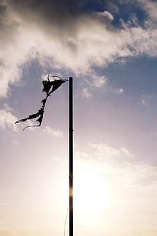 Mast, Pile, Carrier, Post, Flag, Broken, Tattered, Wind