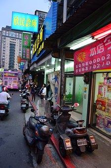 City, District, Taiwan, Taipei, Asia, Night, Downtown