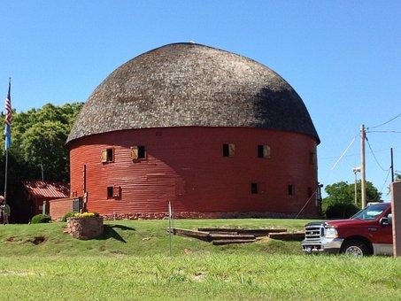 Barn, Round, Circular, Red, Farm, Country, Ranch